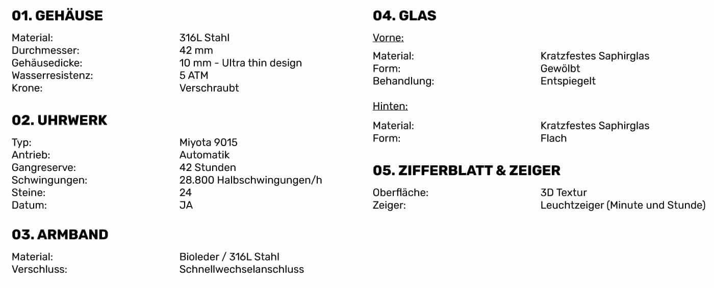 Spezifikationen der Bauhaus Uhr